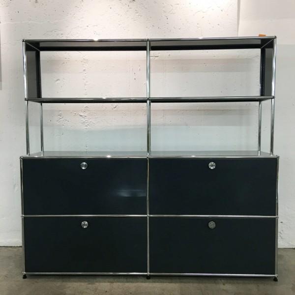 USM Haller modulares Möbel mit Schubladen, Klappen und offenem Gestellaufsatz, Nr. 170050