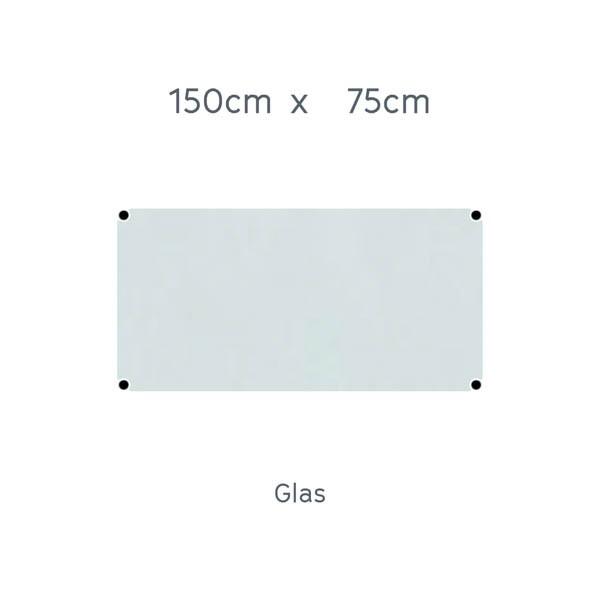 USM Haller Tisch 150x75cm Glas transparent